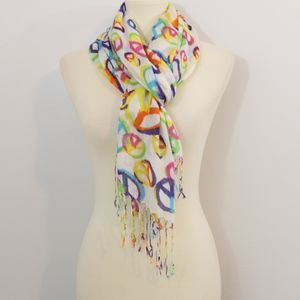 Corful Peace Sign Printed Fringe Wrap Scarf